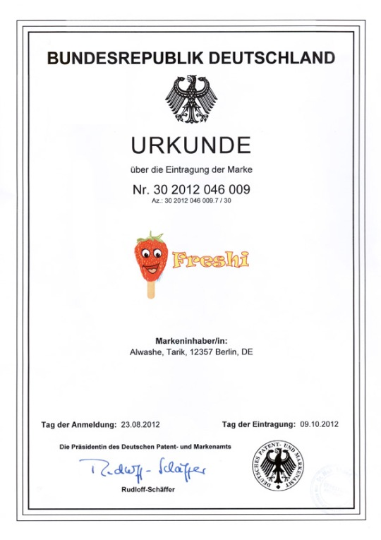 URKUNDE-Freshi-Ice-Sticks-Germany